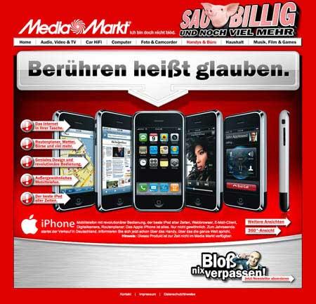 iPhone en el Media Markt de Alemania