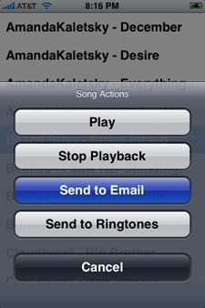 SendSong en el iPhone