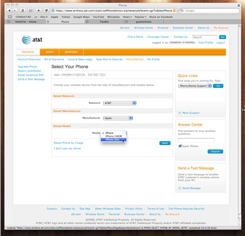 iPhone 3G en la web de AT&T