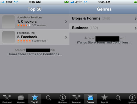 Screenshots de la App Store
