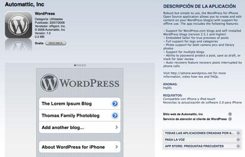 Wordpress en la App Store