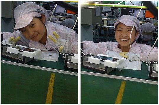 Chica de la fábrica del iPhone
