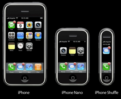 Versiones de iPhone nano, shuffle etc