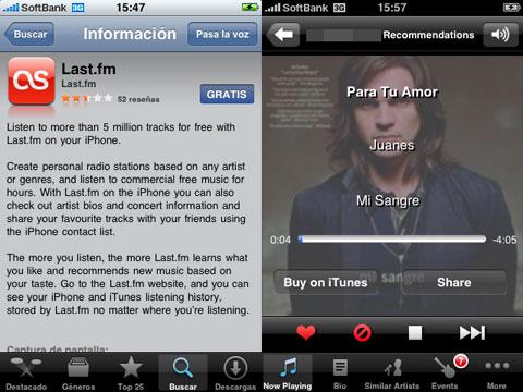 Last.fm en el iPhone