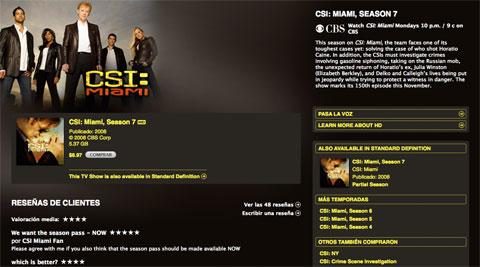 CSI Miami en HD en la iTunes Store