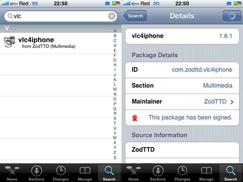 VLC en el iPhone y iPod Touch