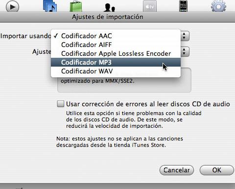 Codecs de importación de música en iTunes