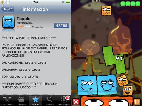 Juego gratuito, Topple en el iPhone