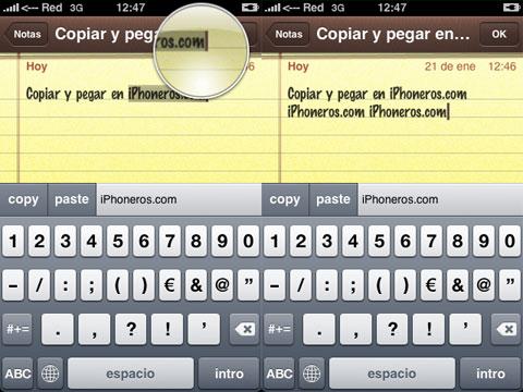 Copiar y pegar en el iPhone
