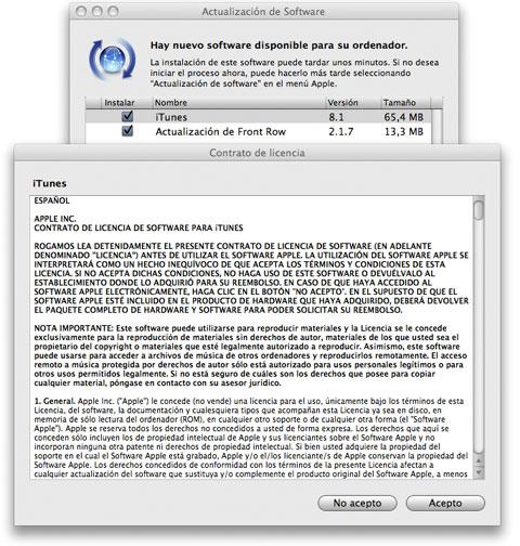 iTunes 8.1 en OS X - Actualización Automática