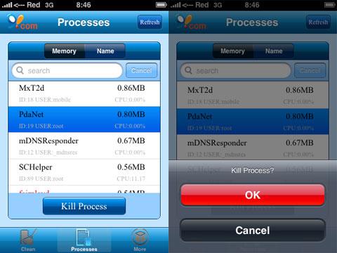 Matando un proceso en el iPhone