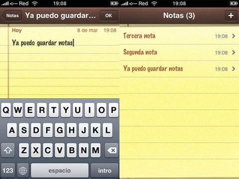 Poder guardar notas en el iPhone