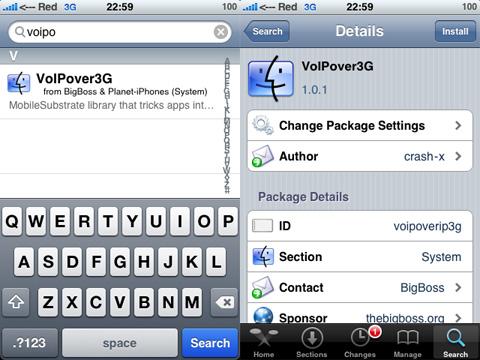 Voipover3G en Cydia