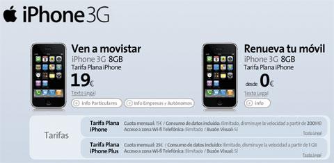 iPhone 3G de 8Gb de Movistar a 19€