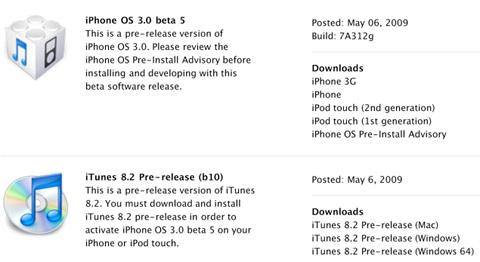 Nueva beta 5 del firmware 3.0 del iPhone