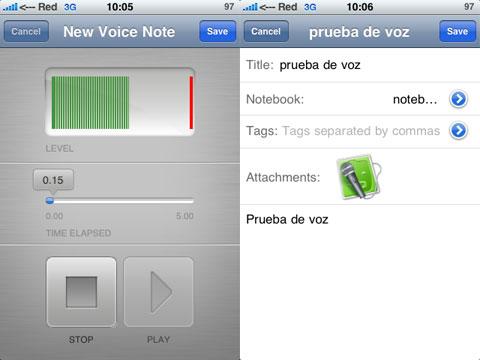Grabador de voz en Evernote