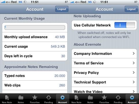 Evernote en el iPhone, mostrando los límites de tráfico
