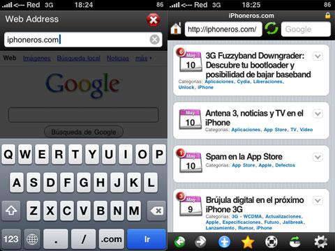 Navegador web Oceanus en el iPhone