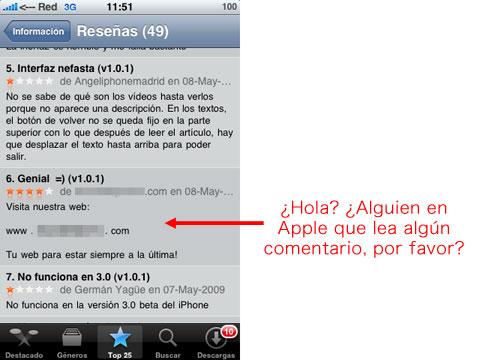 Spam en la App Store de Apple