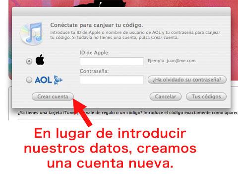Crear cuenta iTunes Store