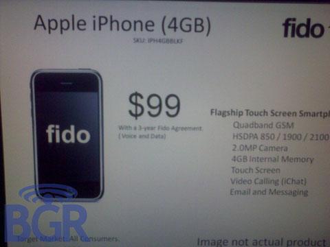 iPhone 4Gb de Fido - rumor