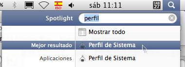 Perfil de Sistema en Mac