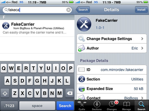 Fake Carrier en Cydia
