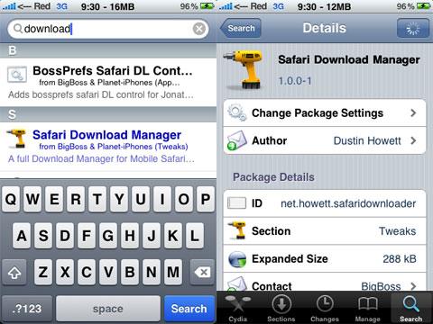 Download Manager para Safari en el iPhone