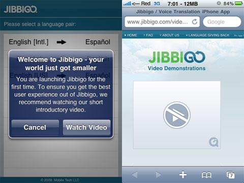 Los videos de Jibbigo no salen bien