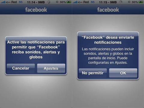 Facebook 3.1 pidiendo permiso para enviar notificaciones