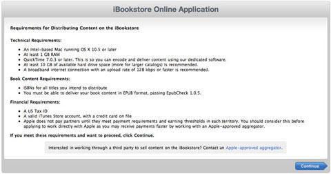 Formulario para la iBooks Store