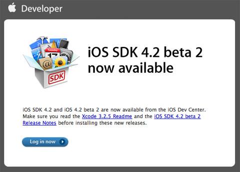 iOS 4.2 beta disponible