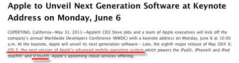 Apple anuncia iCloud en una nota de prensa