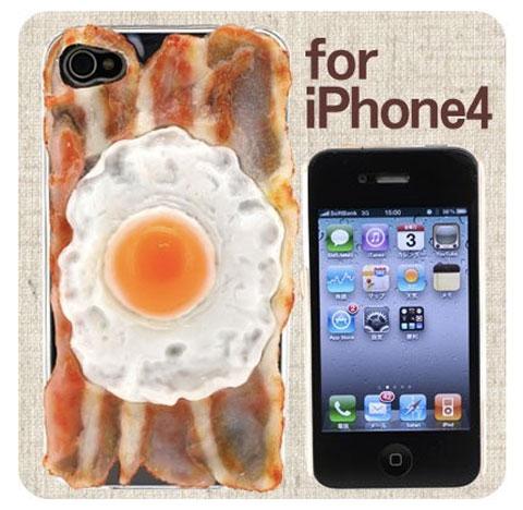 Carcasa para iPhone con un huevo frito. Y Bacon.