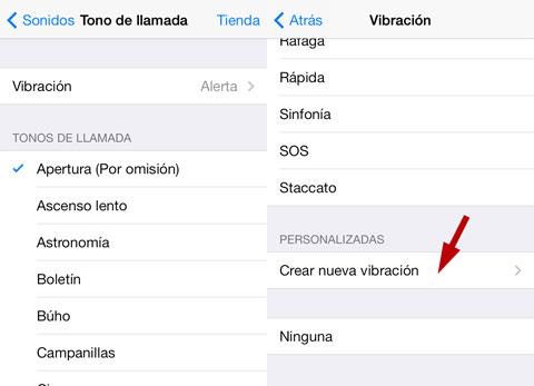 Opciones de Vibración personalizada de iOS 7