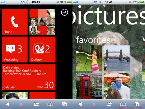 La interfaz de Windows Phone en Mobile Safari