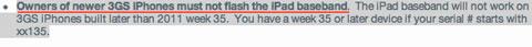 No subir al baseband del iPad los iPhone 3GS nuevos