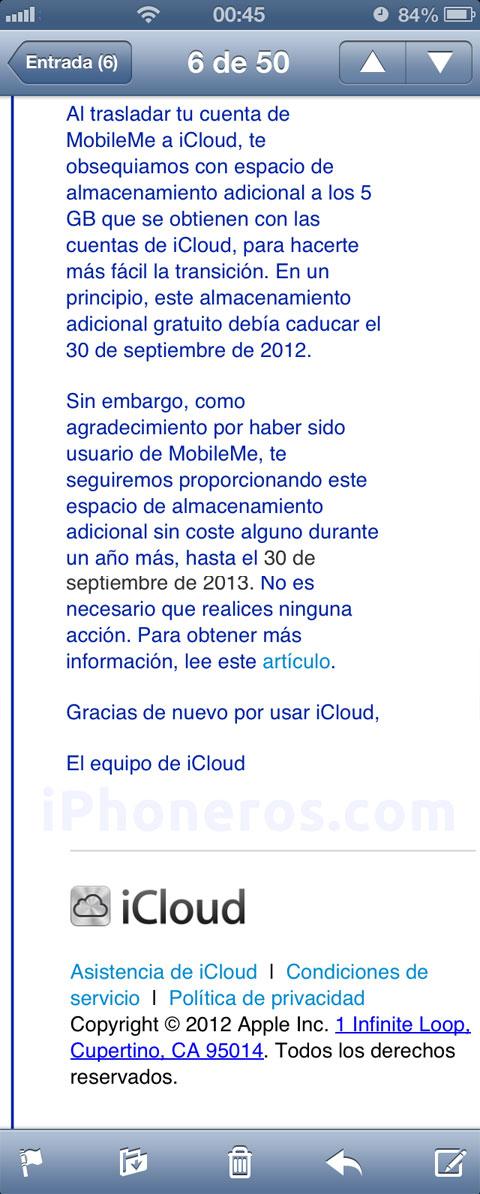 Email del equipo de iCloud