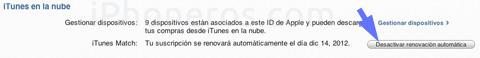 Desactivar renovación automática de iTunes Match