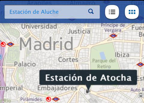 Estación de Atocha en los mapas de Nokia