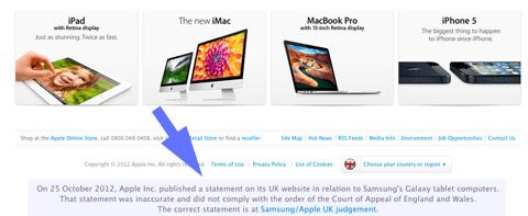 Pie de página de Apple UK