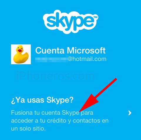 Pantalla de fusión de Skype y Messenger