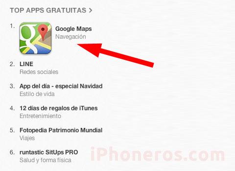 Google Maps, primera App de la App Store