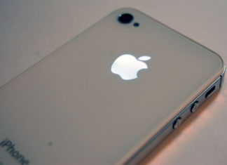 Logo de iPhone iluminado
