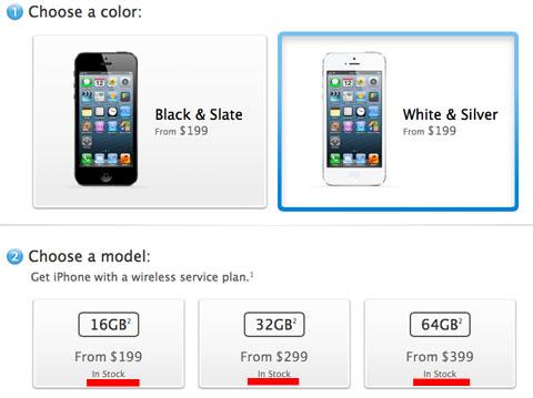 Tiempos de stock del iPhone 5