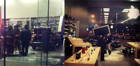 Coche estrellado en la Apple Store