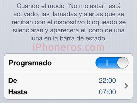 Modo No Molestar de iOS 6