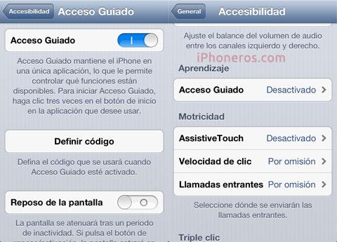 Opciones de Accesibilidad de iOS 6