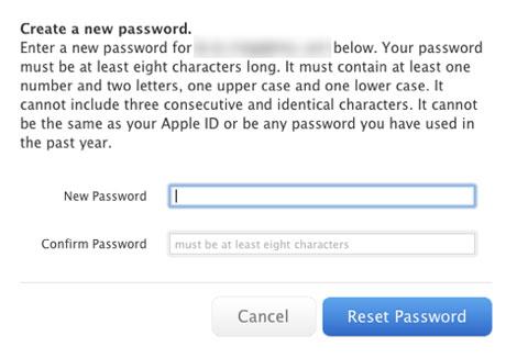 Cambiando la clave de una cuenta de Apple