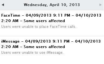 Caída de servicio de iMessage